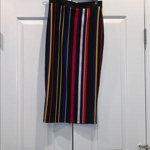 Fashion Nova Striped Midi Skirt (Size M)